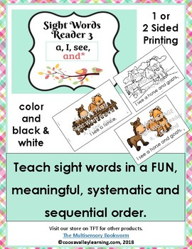 Sight Word Reader #3 color, B&W