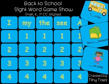 Sight Word Reader Game Show for PreK, K, and 1st PPT CC