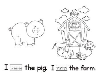 Sight Word Reader, I, See, The (Farm theme)