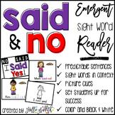 Sight Word Reader: Said, No