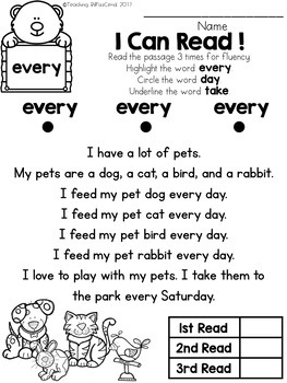 Sight Word Reader and Comprehension (SET 3)