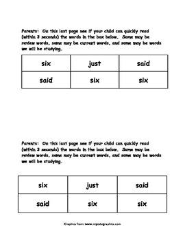 Sight Word Reader - six