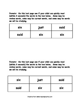 Sight Word Reader - six