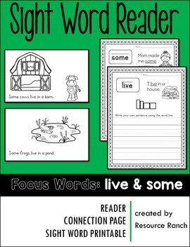 Sight Word Reader - some & live
