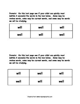 Sight Word Reader - will