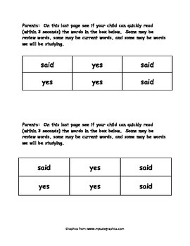 Sight Word Reader - yes