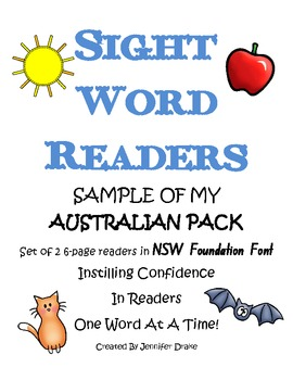 Sight Word Readers Sample Pack ~Australian Version NSW Foundation Font~
