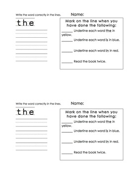 Sight Word Readers Set 1 (student and teacher copies)