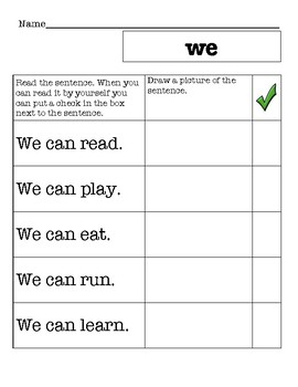 Sight Word Reading Book