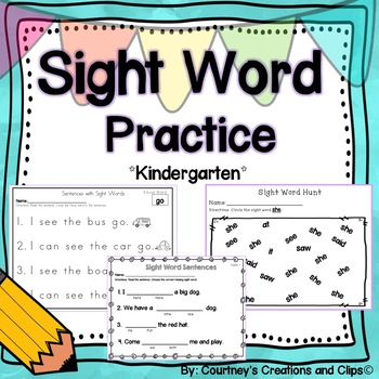Sight Word Reading, Fill in the blanks, and Word Hunt