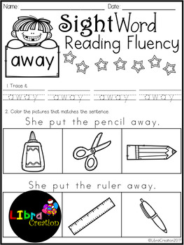 Sight Word Reading Fluency Pre-Primer