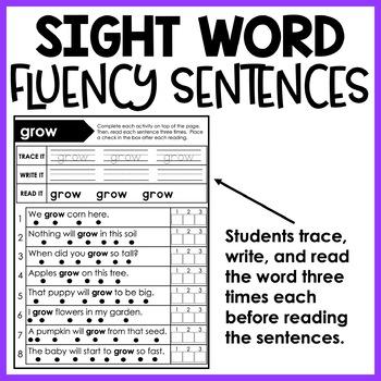 Sight Word Reading Fluency Sentences - BUNDLE