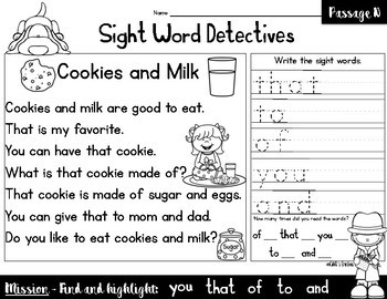 Sight Word Reading Passages