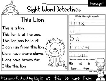 Sight Word Reading Passages - Vol. 2