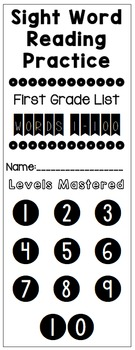 Sight Word Reading Practice Trackers