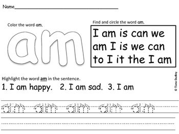 Sight Word Recognition Activity.