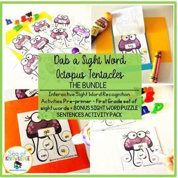 Sight Word Recognition Dab a Word Bundle BONUS Alphabet Identification Activity
