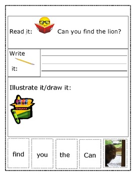"Sight Word Recognition Sentence Builders BUNDLE ""Can you find the..."""