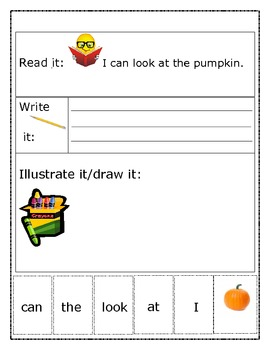 """Sight Word Recognition Sentence Builders BUNDLE    """"I can look at..."""""""