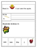 """Sight Word Recognition Sentence Builders BUNDLE """"I can see..."""""""