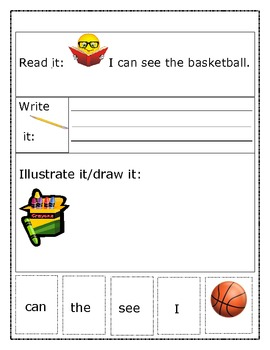 Sight Word Recognition Sentence Builders -- Basketball