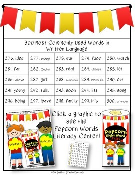 Sight Word Resource ~ 300 Most Commonly Used  High Frequency Words