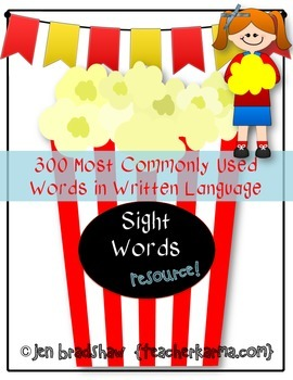 Sight Word Resource ~ 300 Most Commonly Used  High Frequen