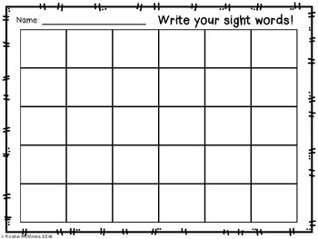 Sight Word Response Sheet FREEBIE