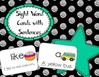 Sight Word Reveiw Cards with Sentences