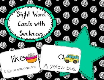 Sight Word Reveiw Cards with Sentences