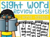 Sight Word Review Lists