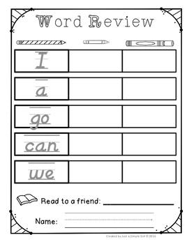 Sight Word Review Sheets- Pencil, Crayon, Marker