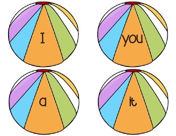 Sight Word Rings-Beach Themed