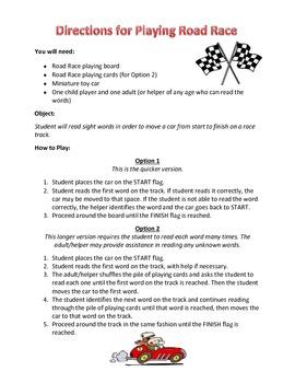 Sight Word Road Race Game (Customizable Blank Board)