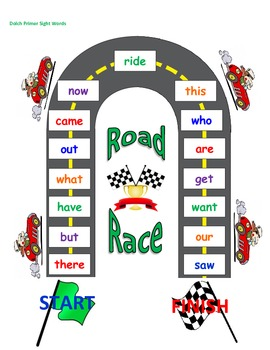 Sight Word Road Race Game (Dolch Primer Sight Words)