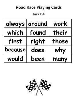 Sight Word Road Race Game (Dolch Second Grade Sight Words)
