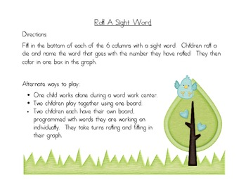 Sight Word Roll Game