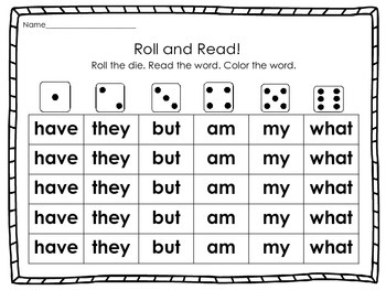 Sight Word Roll & Read Packet