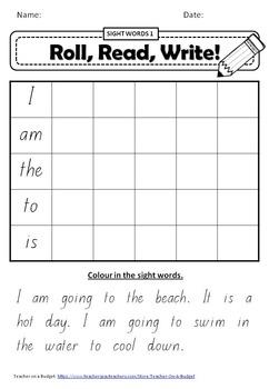 Sight Word Roll Read Write 1