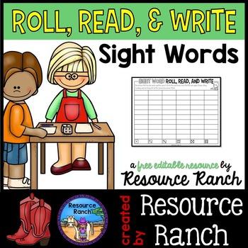Sight Word Roll, Read, Write - FREE