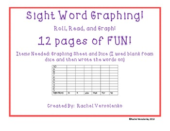 Sight Word Roll, Read, and Graph!