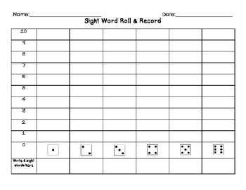 Sight Word Roll & Record