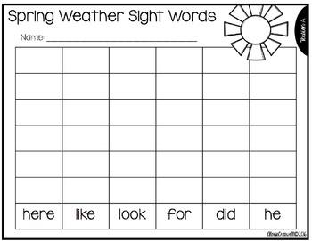 Sight Word Roll & Write-Editable