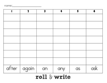 Sight Word Roll & Write- First Grade