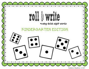 Sight Word Roll & Write- Kindergarten