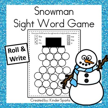 Sight Word Roll & Write Snowman