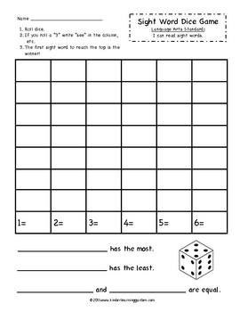 Sight Word Roll a Dice Game