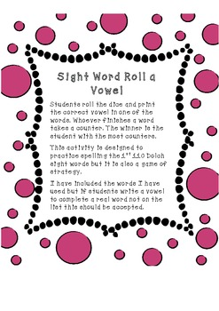 Sight Word Roll a Vowel