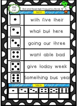 Sight Word Roll and Read: 100 High Frequency Words: Fountas & Pinnell