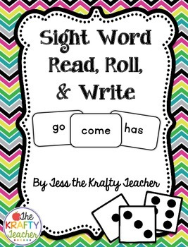 Sight Word Roll, Read and Write Activity Kindergarten 1st 2nd